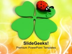 Clover And Lady Bug Lucky Symbols PowerPoint Templates Ppt Backgrounds For Slides 0313