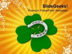 Clover And Lucky Horshoe Celebration PowerPoint Templates Ppt Backgrounds For Slides 0313