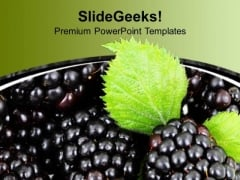 Clusters Of Black Grapes With Green Leaf PowerPoint Templates Ppt Backgrounds For Slides 1212