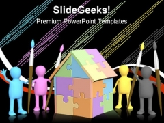 Cmyk Home Puzzle Construction PowerPoint Backgrounds And Templates 1210