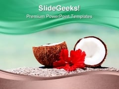 Coconut On Tropical Coast Beach PowerPoint Templates And PowerPoint Backgrounds 0211