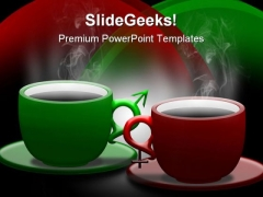 Coffee With Male Female Signs Food PowerPoint Templates And PowerPoint Backgrounds 0311