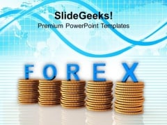 Coins Graph With The Word Forex PowerPoint Templates Ppt Backgrounds For Slides 0113