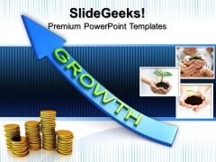 Coins Growth Arrow Success PowerPoint Templates And PowerPoint Themes 0812