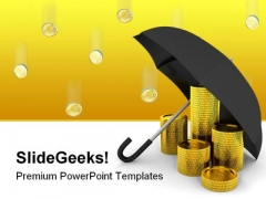 Coins Under Umbrella Business PowerPoint Template 0910