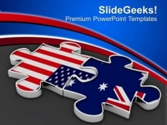 Collabration Of Us And Australia PowerPoint Templates Ppt Backgrounds For Slides 0413