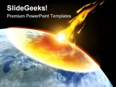 Collision Asteroid Globe PowerPoint Template 0610