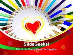 Colored Drawing Pencils Education PowerPoint Themes And PowerPoint Slides 0911
