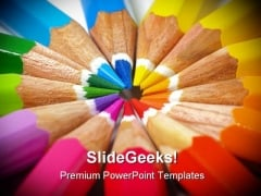 Colored Pencils Education PowerPoint Themes And PowerPoint Slides 0811
