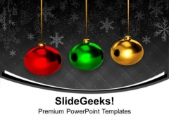 Colorful Balls Hanging Christmas PowerPoint Templates Ppt Backgrounds For Slides 1212