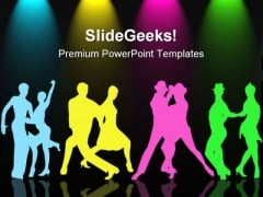 Colorful Couples Dancing Competition PowerPoint Templates And PowerPoint Backgrounds 0511