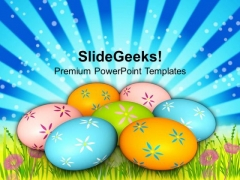 Colorful Easter Eggs On Grass Tradition PowerPoint Templates Ppt Backgrounds For Slides 0313