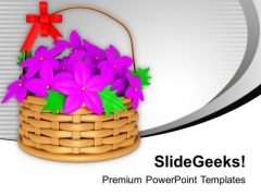 Colorful Flower Basket With Bow PowerPoint Templates Ppt Backgrounds For Slides 1212