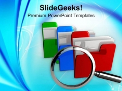 Colorful Folders With Magnifying Glass PowerPoint Templates Ppt Backgrounds For Slides 0713