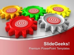 Colorful Gears Interconnected On Red Background PowerPoint Templates Ppt Backgrounds For Slides 0213