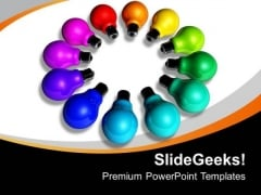 Colorful Ideas In Form Of Light Bulbs Business PowerPoint Templates Ppt Backgrounds For Slides 0113