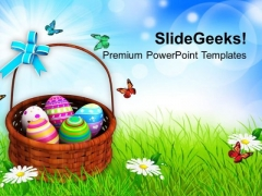 Colorful Painted Easter Eggs In Basket PowerPoint Templates Ppt Backgrounds For Slides 0313