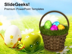 Colourful Easter Eggs With Garden Theme PowerPoint Templates Ppt Backgrounds For Slides 0313
