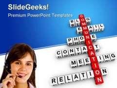 Communication Crossword Metaphor PowerPoint Templates And PowerPoint Backgrounds 0411