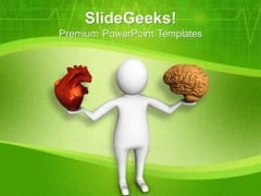 Comparison Between Heart And Brain PowerPoint Templates Ppt Backgrounds For Slides 0713
