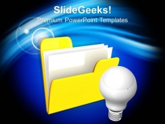 Computer Folder Icon With Light Bulb Business PowerPoint Templates Ppt Backgrounds For Slides 1112