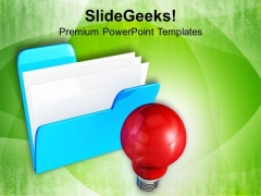 Computer Folder With Bulb Innovative Business PowerPoint Templates Ppt Backgrounds For Slides 0113
