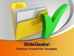 Computer Folder With Check Mark Business PowerPoint Templates And PowerPoint Themes 0912