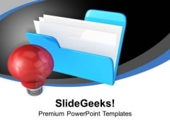 Computer Folder With Light Bulb Technology PowerPoint Templates Ppt Backgrounds For Slides 0113