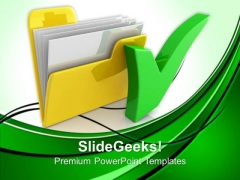 Computer Folder With Tick Mark Business PowerPoint Templates And PowerPoint Themes 0812