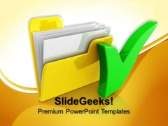 Computer Folder With Tick Symbol PowerPoint Templates And PowerPoint Themes 0712