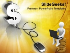 Computer Mouse Connected To Dollar Sign PowerPoint Templates Ppt Backgrounds For Slides 0213