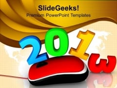 Computer Mouse With New Year Celebration Event PowerPoint Templates Ppt Backgrounds For Slides 1212