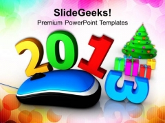 Computer Mouse With New Year Gifts Holidays PowerPoint Templates Ppt Backgrounds For Slides 1212