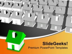 Concept Of Individuality Crowd Of Houses PowerPoint Templates Ppt Backgrounds For Slides 0313