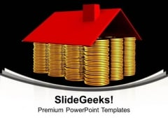 Conceptual House Made From Coins Money PowerPoint Templates And PowerPoint Themes 1012