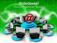Connceted Laptops Networking Concept PowerPoint Templates Ppt Backgrounds For Slides 0713