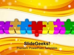 Connected Coloful Puzzle Parts PowerPoint Templates Ppt Backgrounds For Slides 0113