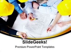Cooperation In Plans Architecture PowerPoint Themes And PowerPoint Slides 0511
