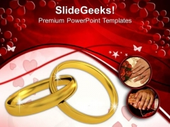Couple And Rings Golden PowerPoint Templates And PowerPoint Themes 1012
