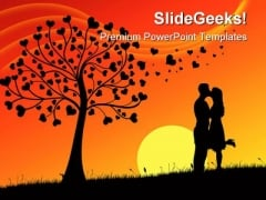 Couple Kissing People Nature PowerPoint Template 0810