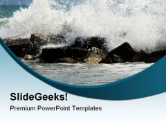 Crashing Waves Beach PowerPoint Templates And PowerPoint Backgrounds 0611