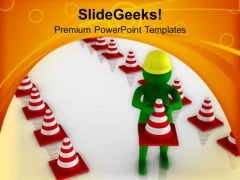 Create A Safety Line For Road Traffic PowerPoint Templates Ppt Backgrounds For Slides 0713