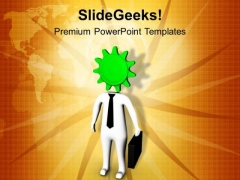Creative Mind With Gear On Head PowerPoint Templates Ppt Backgrounds For Slides 0413
