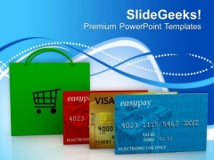 Credit Card With Shopping Bag PowerPoint Templates Ppt Backgrounds For Slides 0413