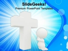 Cross 3d Man Praying Christmas PowerPoint Templates And PowerPoint Themes 0712