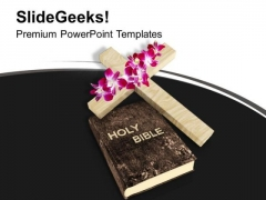 Cross And Bible On White Background PowerPoint Templates Ppt Backgrounds For Slides 1212