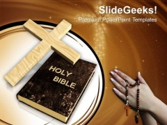 Cross And Bible Prayer Christianity PowerPoint Templates Ppt Backgrounds For Slides 1212