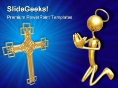 Cross And Prayer Religion PowerPoint Themes And PowerPoint Slides 0811