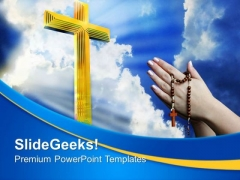 Cross In Heavenly Sky PowerPoint Templates And PowerPoint Themes 0712