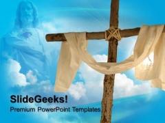 Cross Line Cloth And Sky Christian PowerPoint Templates And PowerPoint Themes 0712